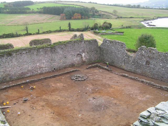 The cloisteral garth under excavation; the circular lavabo can be seen beside the walkway
