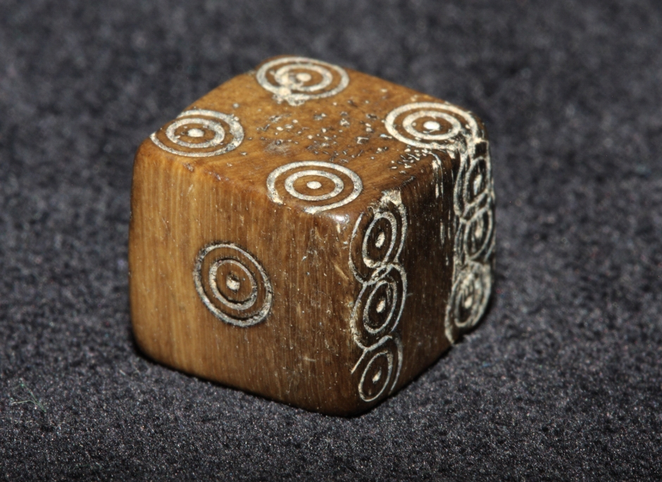 Medieval die from the Caherduggan Castle well- note how the maker almost ran out of room for the '6'