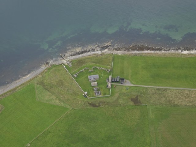 Aerial view of the Hackness Gun Battery as it appears today
