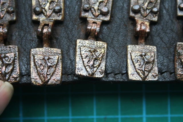 A detail shot showing the stunning condition of the belt, replete with hinged heraldic motifs (Photo: John Nicholl)