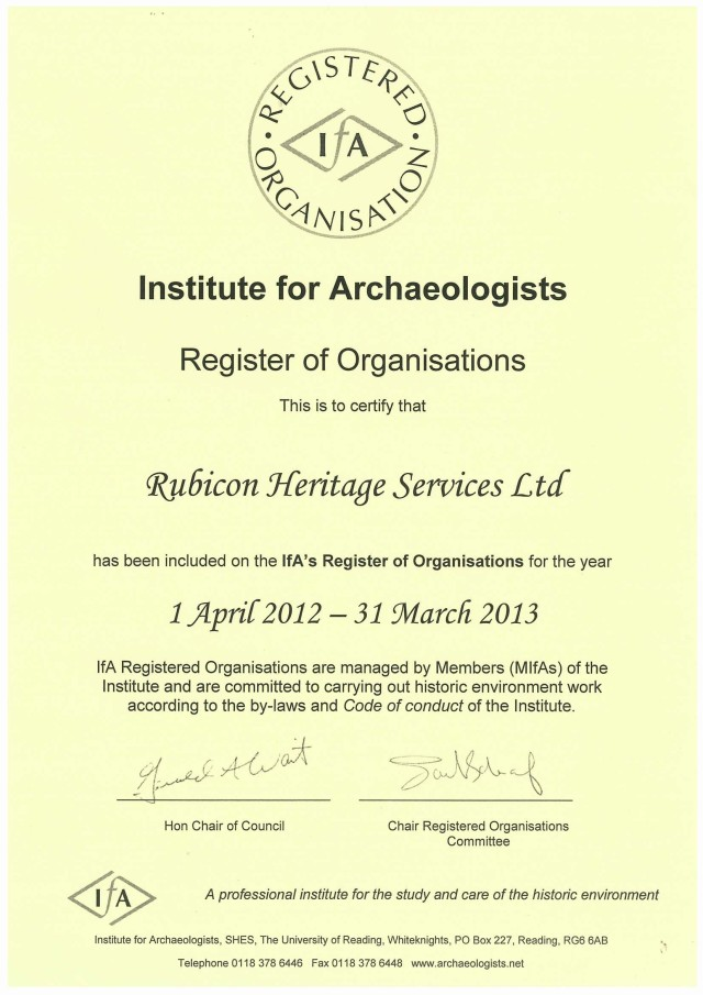 Certificate of Inclusion for Rubicon in the IfA Register of Organisations