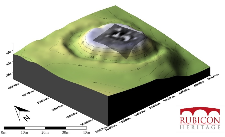 The results of the magnetometry survey draped over a digital terrain model of Moat Park motte