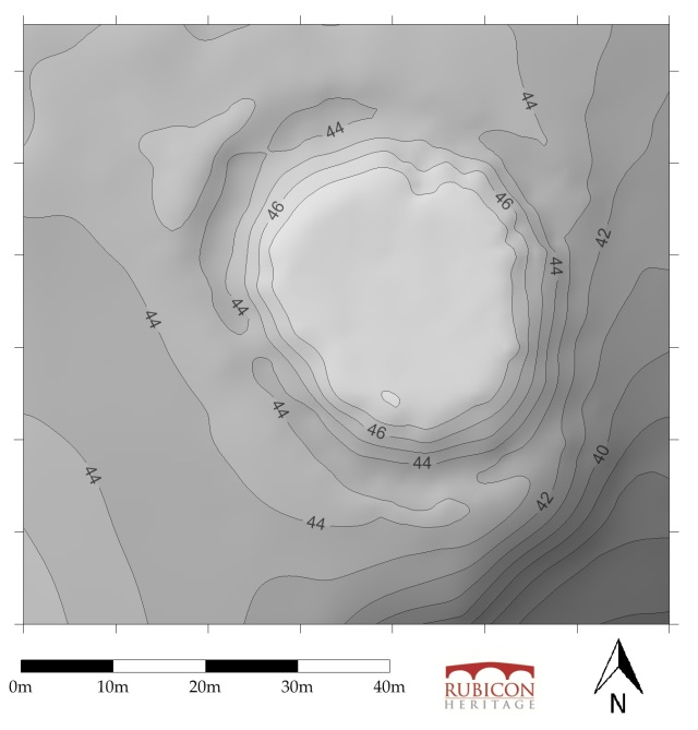 Topographic grey-scale contour based plan of Moat Park motte produced for our survey.