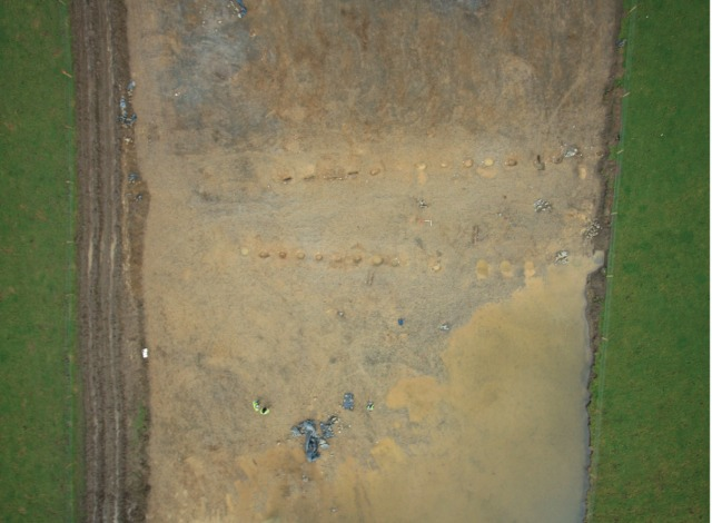 An aerial view of the Ballingowan post-pit alignment